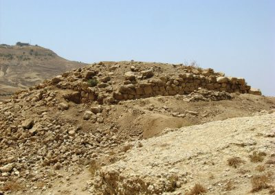Francesco M. Benedettucci - view of the Iron age building at Tell al-Mashhad (Jordan), during the 2010 season of Excavations. In the foreground, the byzantine sanctuary of Moses on the top of mount Nebo.