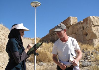 Sébastien Gondet - Surveying near the Pasargadae Tol-e Takht platform with a Real Time Kinematic GPS (operators on the picture: Damien Laisney, CNRS member at the Maison de l'Orient - Lyon, and Samaneh Nazif, graduate student at the Shahid Beheshti University of Tehran; credit: Iranian-French mission at Pasargadae.