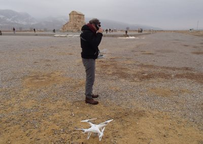 Sébastien Gondet - Setting-up of a drone flight next to the Tomb of Cyrus at Pasargadae (operator on the picture: Philippe Barthelemy, Iconem Compagny; credit: Iranian-French mission at Pasargadae)