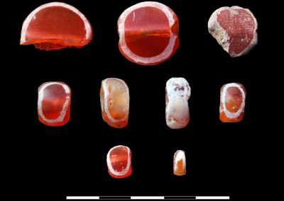 V.P. Prabhakar -Harappan site of Karanpura (in Rajasthan) India. Decorated (etched / bleached) carnelian beads, Harappan period, Karanpura (Rajasthan), India